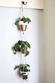 Simple DIY Hanging Indoor Vertical Herb Garden Planter Pots With Rope Ideas