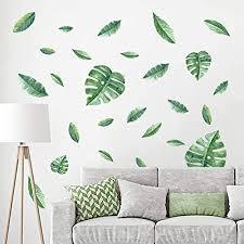 decalmile wandtattoo pflanze tropische verlässt wandsticker blätter grüne wandaufkleber wohnzimmer schlafzimmer flur wanddeko