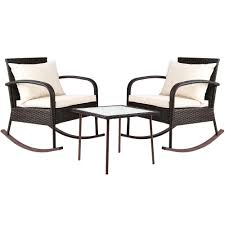 Gardeon 3 Piece Outdoor Rocking Chair Set - Brown - YDS.com.au Hanover Outdoor Orleans 5piece Porch Rocker Set With Cherry Red Retro Patio 3 Pc Metal Rocking Chair Tortuga Portside Plantation Dark Roast 3piece Wicker White Plastic Chairs Cr Generation The Classic All Weather Bayview Magnolia Art Epicenters Austin Paint Darrow Polywood Jefferson Pwrockerset3 Fniture 3pc Lazboy Avery Piece Bistro In Blue Kmart
