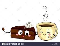 abbildung ein stück kuchen sachetorte maskottchen und eine