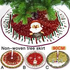 Non Woven Christmas Tree Skirts Dress Elk Snowman Santa Claus Decoration For Home Arrangement