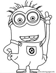 Crazy Dave The Minion Coloring Page Pages