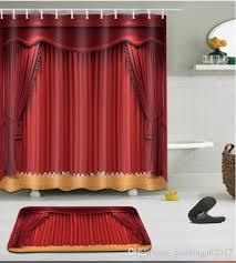 großhandel 3d rotes muster kundenspezifisches wasserdichtes badezimmer moderne sonnenblume duschvorhang polyester gewebe badezimmer vorhang