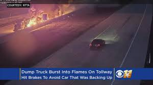 Caught On Camera: Fiery Dump Truck Crash As Car Attempts To Backup ...