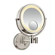 conair sided lighted wall mount mirror brushed