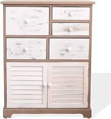 mobili badezimmerschrank badschrank in grau braun weiß mit 2 türen und 5 schubladen landhausstil für schlafzimmer und badezimmer home