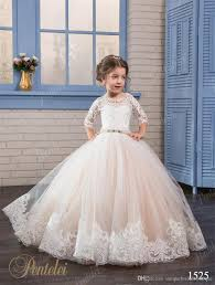 cheap flower girls dresses 2017 pentelei with 3 4 long sleeves and