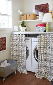 Making A Swing Arm Curtain Rod by 15 Laundry Spaces That Cleverly Conceal Their Unsightly Appliances