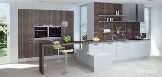 61 10 moderne zweizeilige einbauküche nussbaum weiß