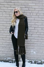 A Faux Leather Jacket Booties And An Oversized Scarf For Winter Date Night