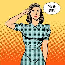 Woman Soldier Housewife Concept Of Feminism And Services The Salutes Says Yes Sir Retro Style Pop Art Relationships In Family At Work