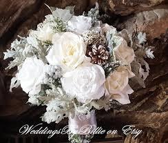 Winter Wedding Bouquet Silver White Ivory Pine Cones Hand