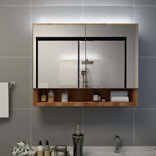 led bad spiegelschrank eichefarben 80x15x60 cm mdf