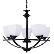 Alice House 24quot 5 Light Black Large Chandeliers Transitional White Glass Lamp Shape