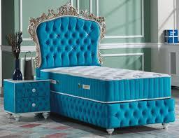 casa padrino barock schlafzimmer set türkis weiß silber antik gold prunkvolles einzelbett mit nachttisch schlafzimmer möbel im barockstil
