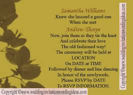 Country Wedding Invitation Wording Wordings