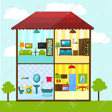 querschnitt des hauses in flachen stil abbildung badezimmer wohnzimmer küche schlafzimmer