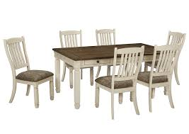 Bolanburg Antique White Rectangular Dining Room Table W 6 Upholstered Side ChairsSignature Design