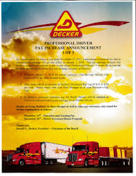 Driver Pay Increase Announcements - Decker Truck Line Decker Trucking Red Peterbilt White Trailer Editorial Image Transporte Transportation Service Dren Germany 57 Vintage Ads On Behance Truck Line Fort Dodge Ia Best 2018 Is This Heaven No Its Iowa I84 Tremton To Twin Falls Pt 9 23 Days Ago Fleet Managdispatcher Job At Inc June 12 Laurelbig Timberhardin Mt 2016 Lifeliner Magazine Issue 4 By Motor Association The Wi Diesel Ranchs Favorite Flickr Photos Picssr Offroad Car Transport Apk Download Free Simulation Game For