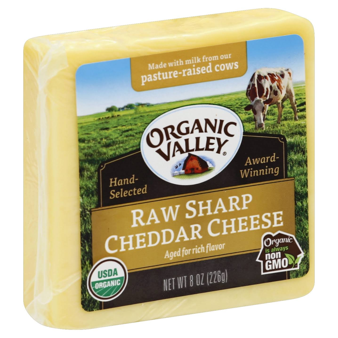 Organic Valley Cheese, Raw, Sharp Cheddar - 8 oz