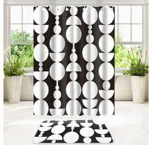 su b duschvorhang set mit badezimmermatte aus polyester 180 x 200 wasserdicht mit ringen badematte 50 x 80 schwarz weiss kreis