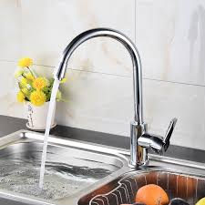 modern brass kitchen sink faucet with cold and water