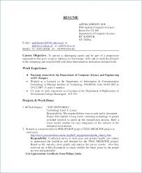 Sample Resume Objective For Computer Science Graduate Awesome Engineering Ceciliaekici Com