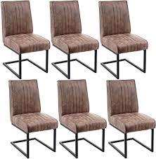 mendler 6x esszimmerstuhl hwc g57 küchenstuhl freischwinger stuhl federkern stoff textil wildleder optik vintage braun