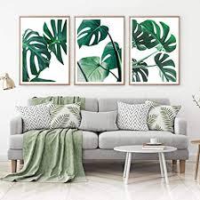 adodecor grüner palmblatt wandkunstdruck monstera blätter