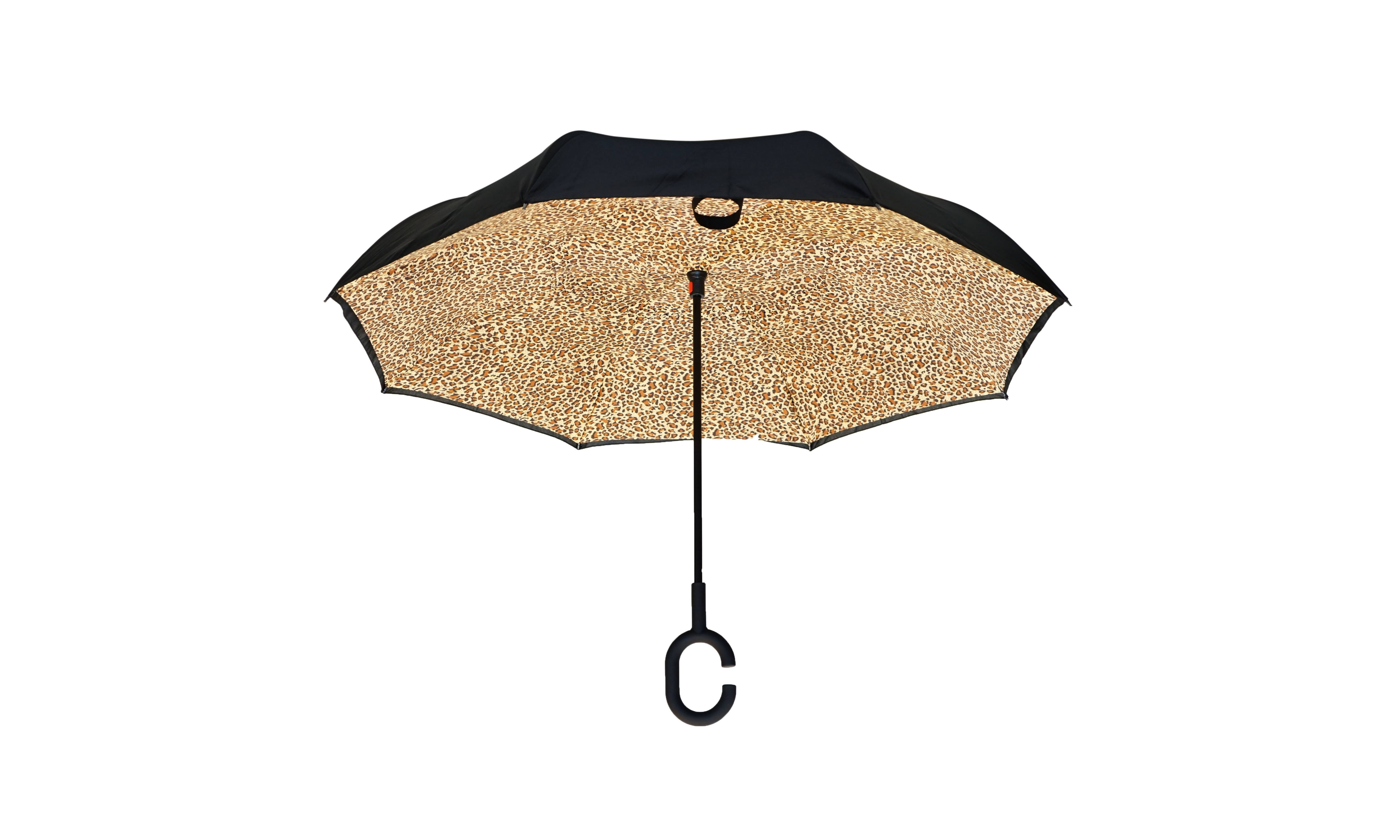 Topsy Turvy Leopard Print Inverted Opening Umbrella