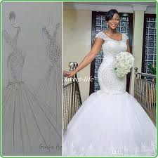 Plus Size White Mermaid Wedding Sparking Beading Cap Sleeves Corset