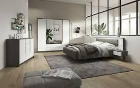schlafzimmer komplett bett kommode schrank weiß grau