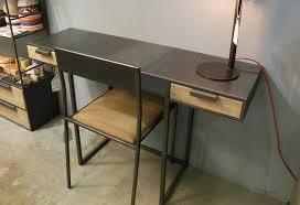 bureau metal et bois esprit loft console bureau design en mtal et bois sur mesure