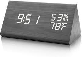 digital wecker mit hölzerner elektronischer led zeitanzeige doppelte temperatur und feuchtigkeitserkennung ideal für schlafzimmer nacht kinder