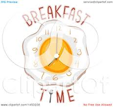 Clipart Graphic Of A Wall Clock An Egg With Breakfast Time Text