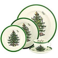 Christmas Tree Amazon Prime by Amazon Com Spode Christmas Tree 5 Piece Dinnerware Set Service