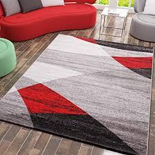 vimoda teppich geometrisches muster meliert in grau weiß schwarz und rot maße 120 x 170 cm