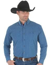wrangler men u0027s long sleeve plaid button down shirt navy