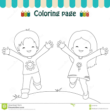Coloring Page Happy Kids Stock Vector Best Of Outline A Boy And Girl Pages