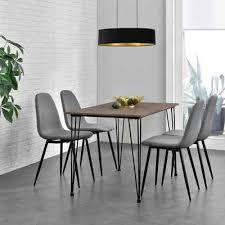 en casa essgruppe 5 tlg vihti esstisch mit 4 stühlen 120x70cm grau