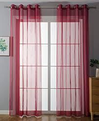 2er pack ösen gardinen transparent vorhang set wohnzimmer voile ösenvorhang bleibandabschluß hxb 225x140 cm bordeaux 203322