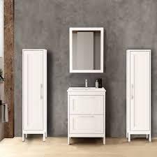 badezimmermöbel set mit 2 hochschränken spiegel tarifa 110 matt weiß