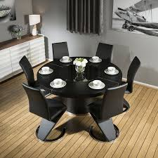 Modern Large Round Black Oak Dining Table +6 Black Z Shape Chairs ... Oak Round Ding Table In Brown Or Black Garden Trading Extending Vintage And Coloured With Tables Glass Square Wood More Amart Fniture Serene Croydon Set 4 Marlow Faux Leather Eaging Solid Walnut And Chairs White Outdoor Winston Porter Fenley Reviews Wayfair Impressive 25 Levualistecom Amish Merchant Oslo Ivory Leather Modern Direct Rhonda In Blacknight Oiled Woood Cuckooland Chair Seats Round Extending Ding Table 6 Chairs Extendable