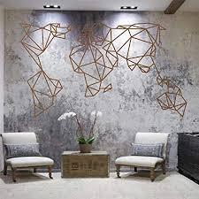 metall weltkarte geometrische weltkarte bronze 3d wand silhouette metall wanddekoration wohnzimmer innendekoration skulptur 75 x 43 cm