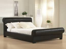 Black Leather Headboard Single by Black Leather Upholstered Sleigh King Size Bed Frame With