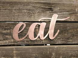 Kitchen Signs Eat Sign Farmhouse Wall Decor Metal Words Gifts Under 20 Copper