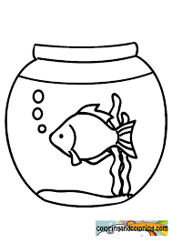 Fish Bowl Picture Coloring Page