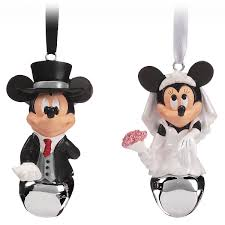 Mickey And Minnie Mouse Bath Decor by Mickey And Minnie Mouse Wedding Bell Ornament Set Shopdisney