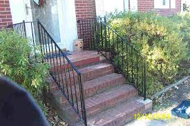 wrought iron handrail for the porch steps