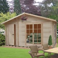 6x3 Shed Bq by 14x12 Bourne Tongue U0026 Groove Timber Log Cabin With Assembly